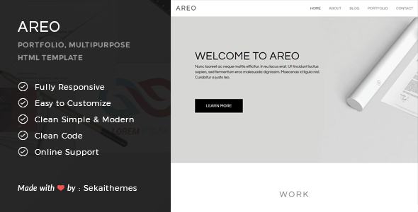 Areo – Responsive Multipurpose HTML Template