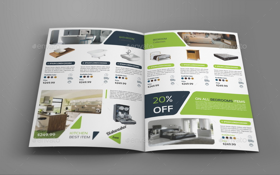 Products Catalogs Bi-Fold Brochure Template Vol.2 By Owpictures