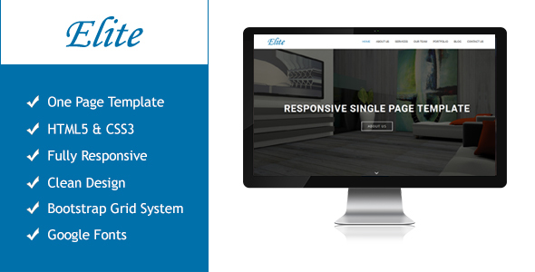 Elite Responsive Multipurpose Single Page Template