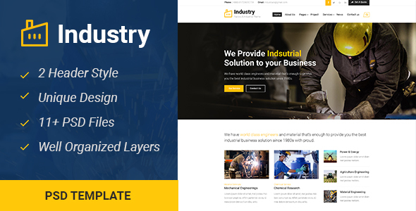 Industry - Industrial & Business PSD Template - Business Corporate