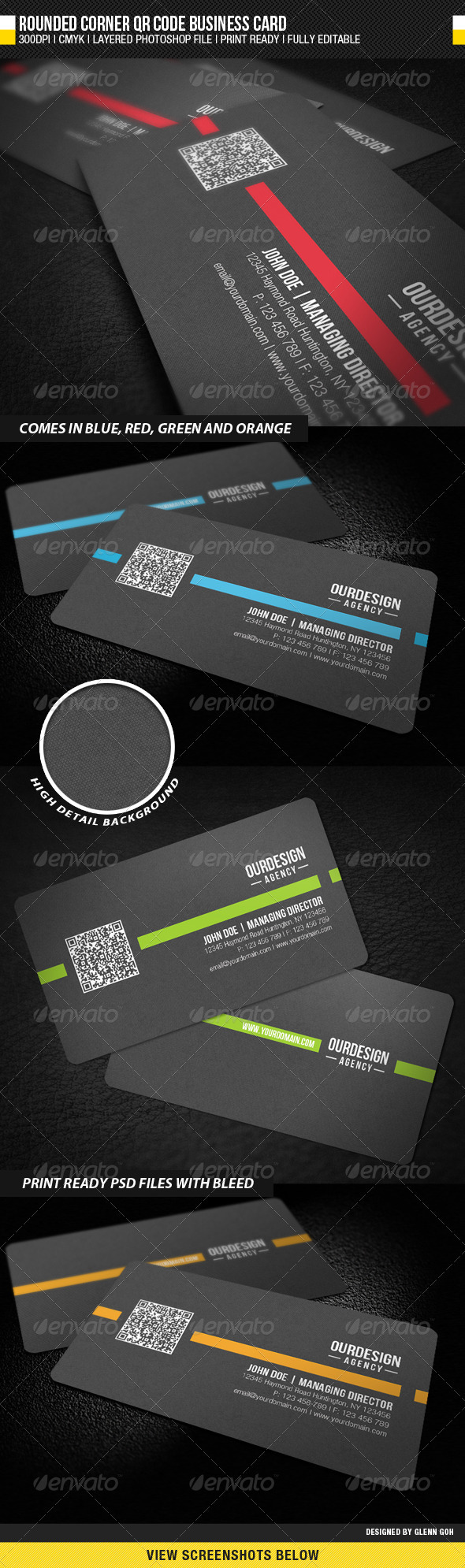 Rounded Corner QR Code Business Card - Corporate Business Cards