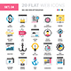 SEO and Web Optimization Flat Line Web Icons  - GraphicRiver Item for Sale