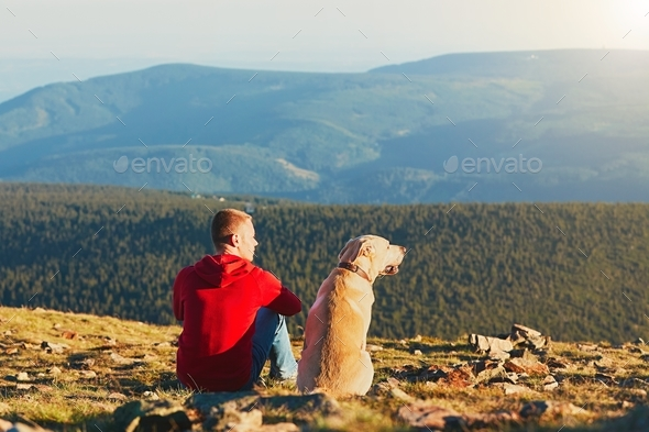 Man with dog on the trip in the mountains - Stock Photo - Images
