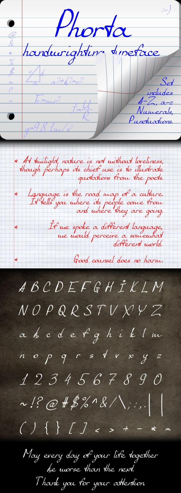 Phorta (handwrighting typeface) - Hand-writing Script