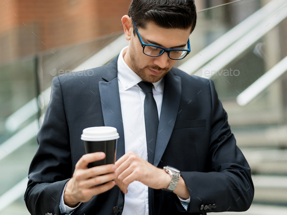 Portrait of handsome businessman outdoor - Stock Photo - Images