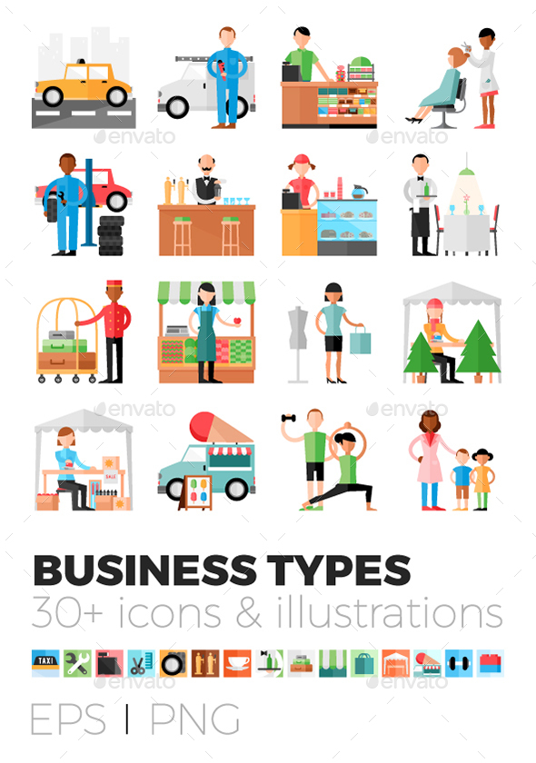 Business types icons & illustrations - People Characters