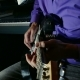Man Playing Electric Guitar Recording Studio Pulls The Strings - VideoHive Item for Sale