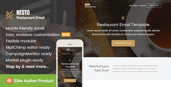 Resto, Restaurant Email Template + Builder Access