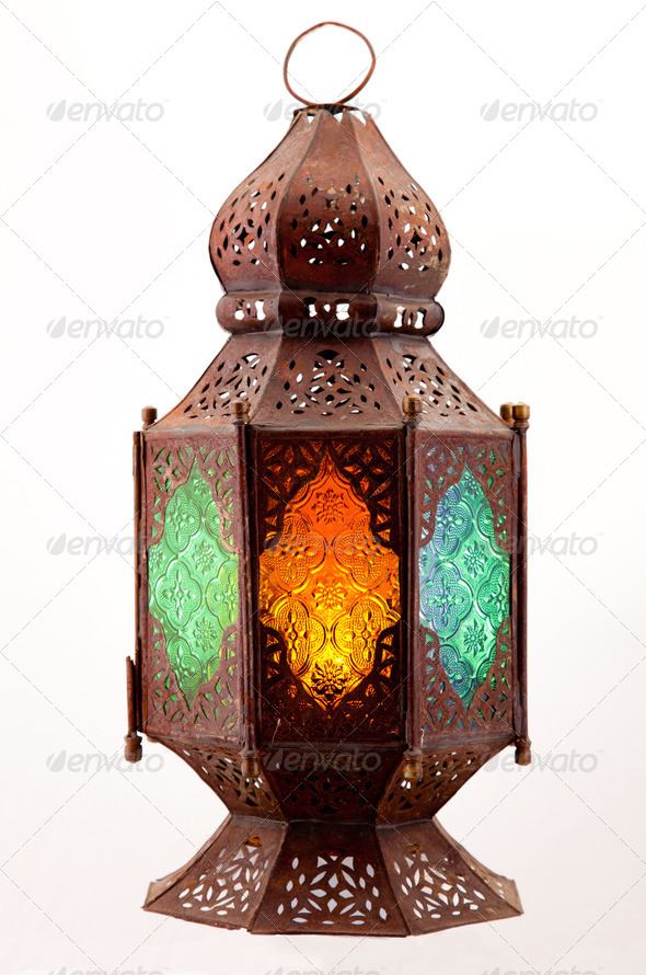 Lantern with colored stained glass - Stock Photo - Images