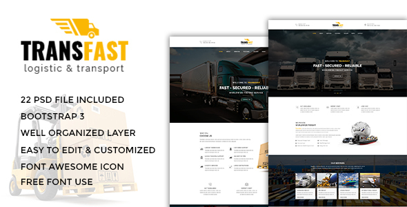 Transfast – Logistic and Transport PSD Template