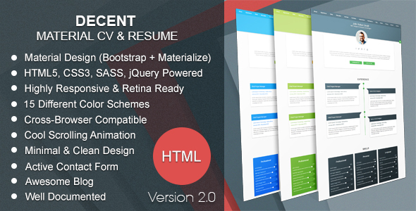 Decent | Material CV & Resume - Resume / CV Specialty Pages