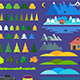 Flat Elements Set of Nature Landscape - GraphicRiver Item for Sale