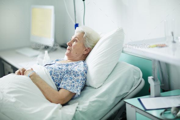 Senior female in hospital - Stock Photo - Images