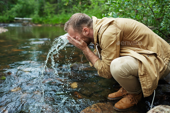 Refreshment in forest - Stock Photo - Images