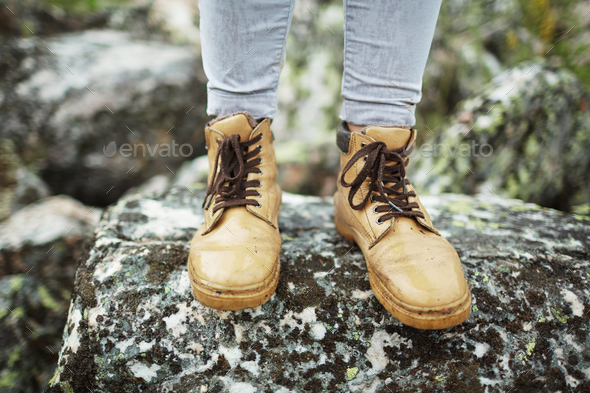 Standing on stone - Stock Photo - Images
