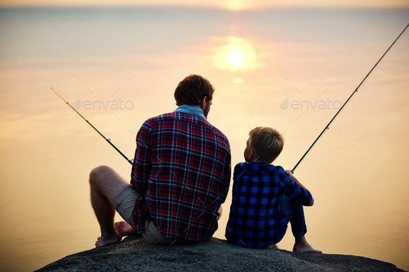 Evening fishing - Stock Photo - Images