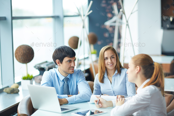 Business meeting in cafe - Stock Photo - Images