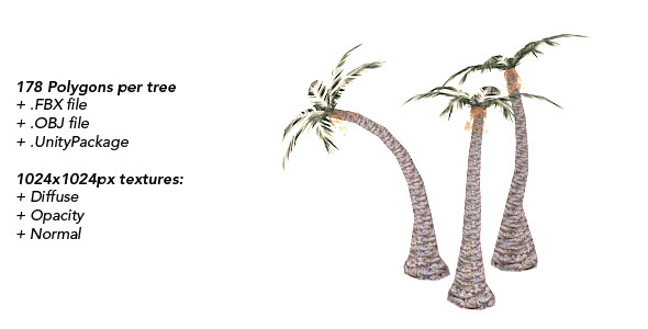 Palms - Low Polygonal Trees Set 1 - 3DOcean Item for Sale