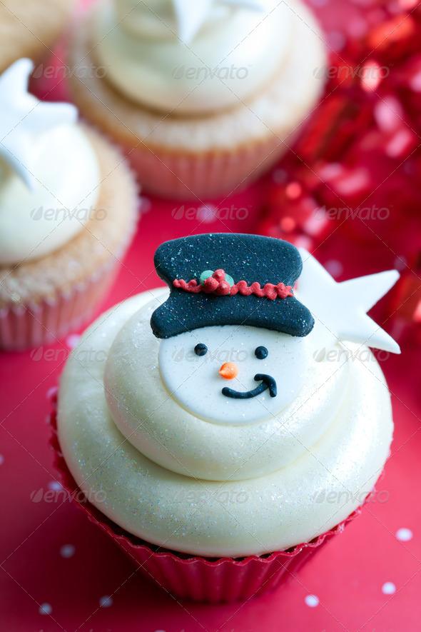 Snowman cupcake - Stock Photo - Images
