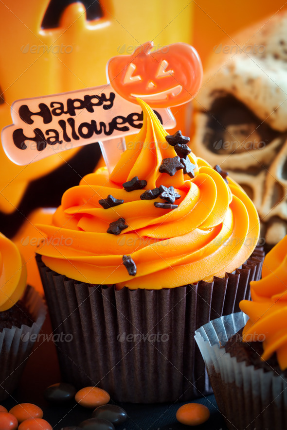 Happy Halloween cupcake - Stock Photo - Images