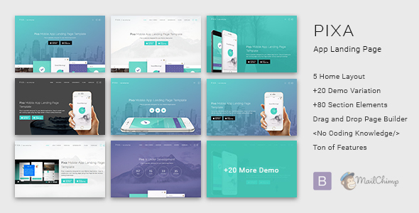 Pixa – App Landing Page with Page Builder