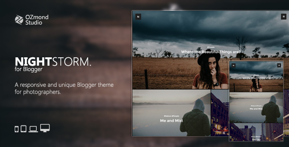 NightStorm: A Responsive & Unique Blogger Theme for Photographers - Blogger Blogging