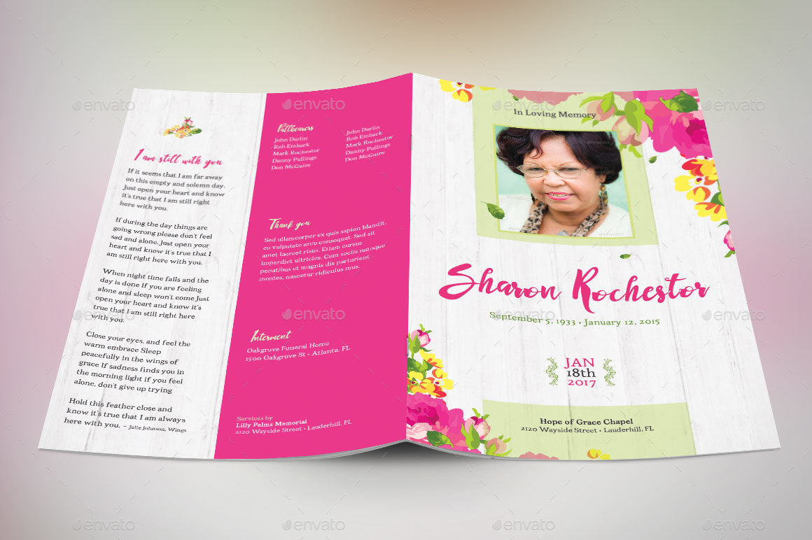 Floral funeral program template by godserv2 graphicriver image setfloral funeral program preview 3g pronofoot35fo Image collections