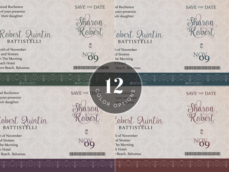 Wedding Boarding Pass Invitation Template by Godserv2 | GraphicRiver