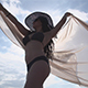 Girl in Swimwear Enjoy the Sea in a Sunny Bright Day in the Hands of the Chiffon Cloth - VideoHive Item for Sale