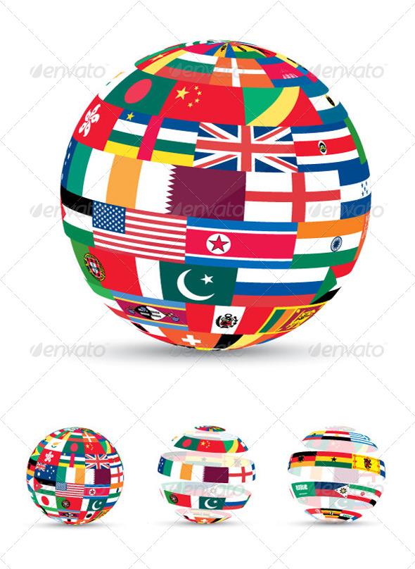 3D Flag World - Miscellaneous Vectors