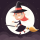 Little Witch Flying on a Broom - GraphicRiver Item for Sale