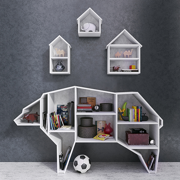 Bear Bookshelf - 3DOcean Item for Sale