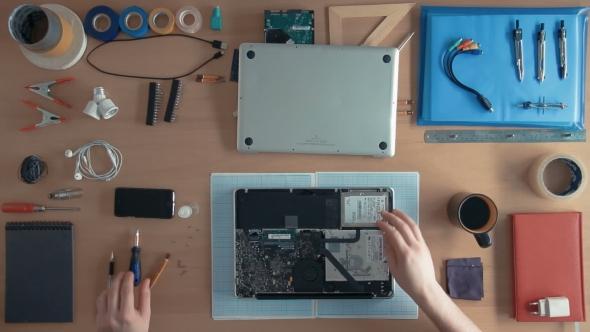 Top View Technician Engineer Is Repairing Laptop Computer On His ...