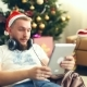 Bearded Man In Christmas Cap Has Videocall With Pad - VideoHive Item for Sale