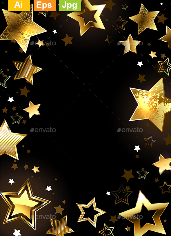 frame with gold stars by blackmoon9