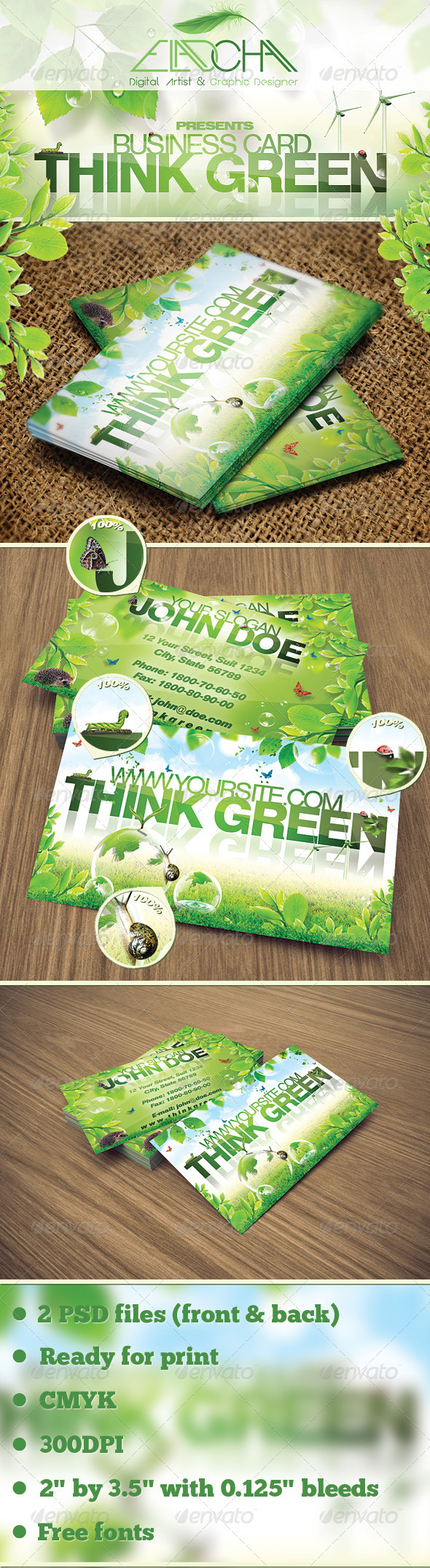 Think Green Business Card - Creative Business Cards