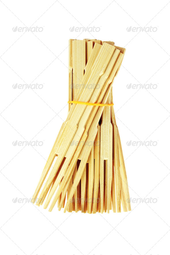 Bunch of Bamboo Food Skewers - Stock Photo - Images