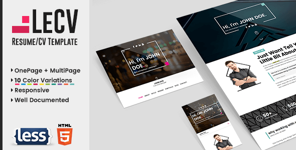 LeCV - Creative responsive resume / CV template - Personal Site Templates