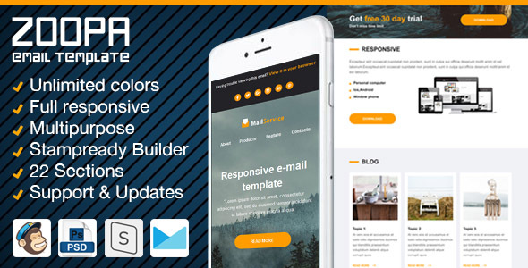Zoopa – Responsive Newsletter with Email Template Builder