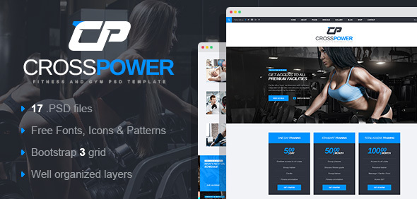 CrossPower - Sport Gym Fitness PSD Template - Health & Beauty Retail