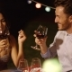 Romantic Young Couple Enjoying Dinner And Wine - VideoHive Item for Sale
