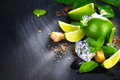 Ingredients of Mojito. Lime, mint, ice cubes and brown sugar - PhotoDune Item for Sale