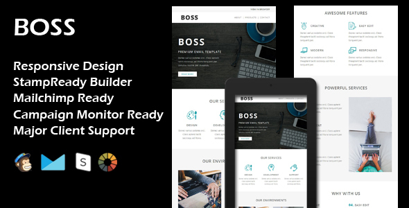 BOSS – Multipurpose Responsive Email Template + Stamp Ready Builder