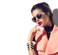 Beauty fashion model girl with brown hair wearing stylish sungla - PhotoDune Item for Sale