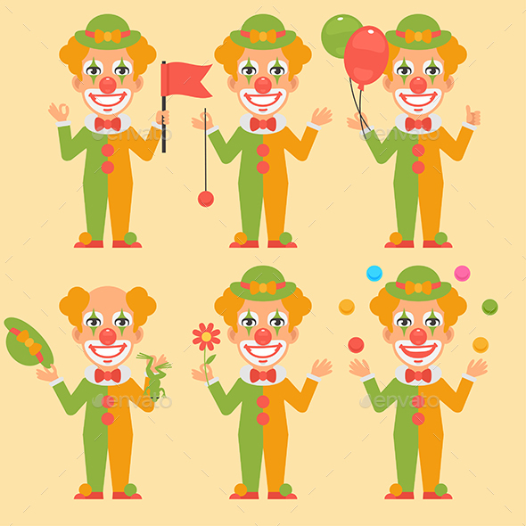 Clown Holding Balloons Flowers Flag
