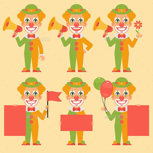 Clown Holding Flag Poster Megaphone