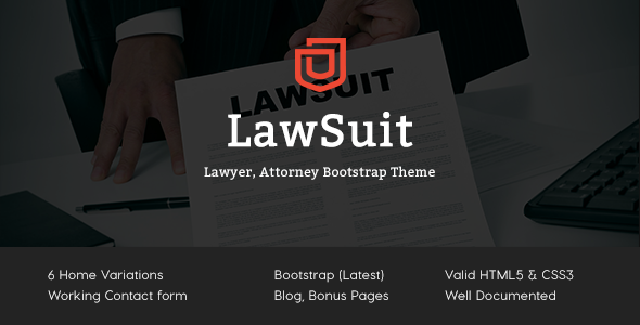 Lawsuit – Lawyer, Attorney Bootstrap Theme