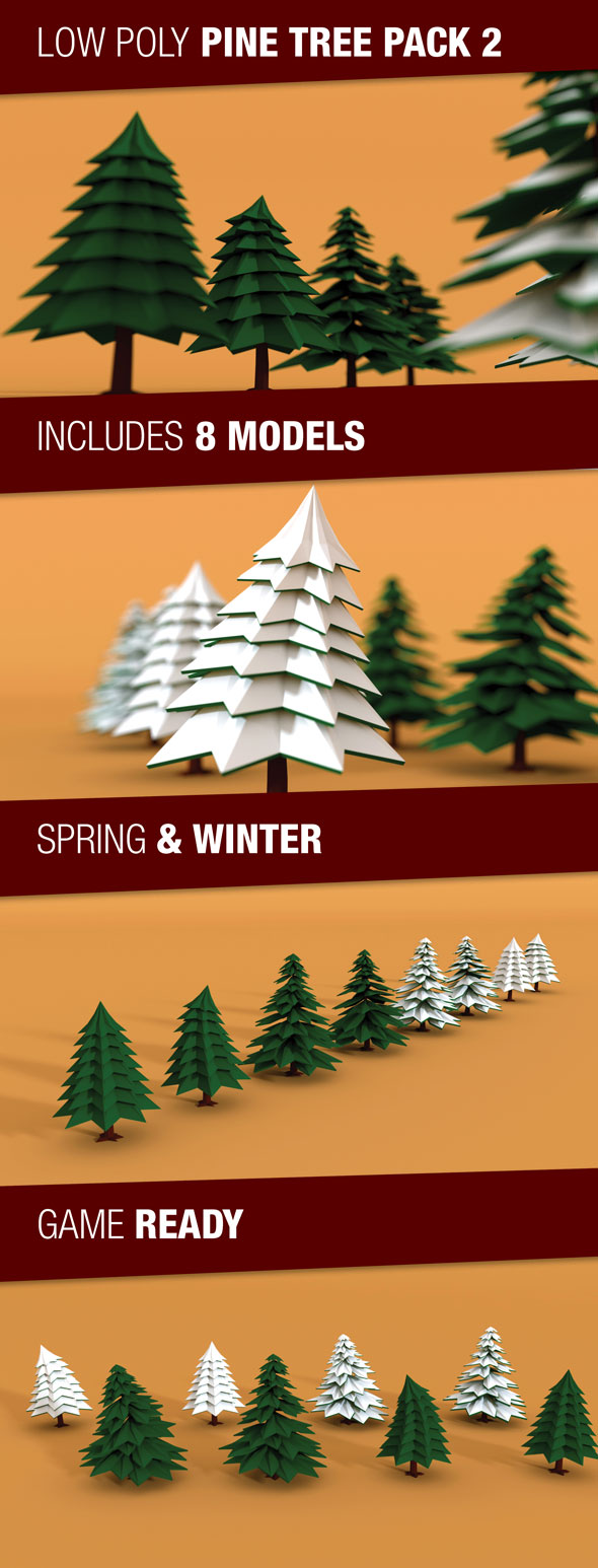 Low Poly Pine Trees Pack 2 with Snow - 3DOcean Item for Sale
