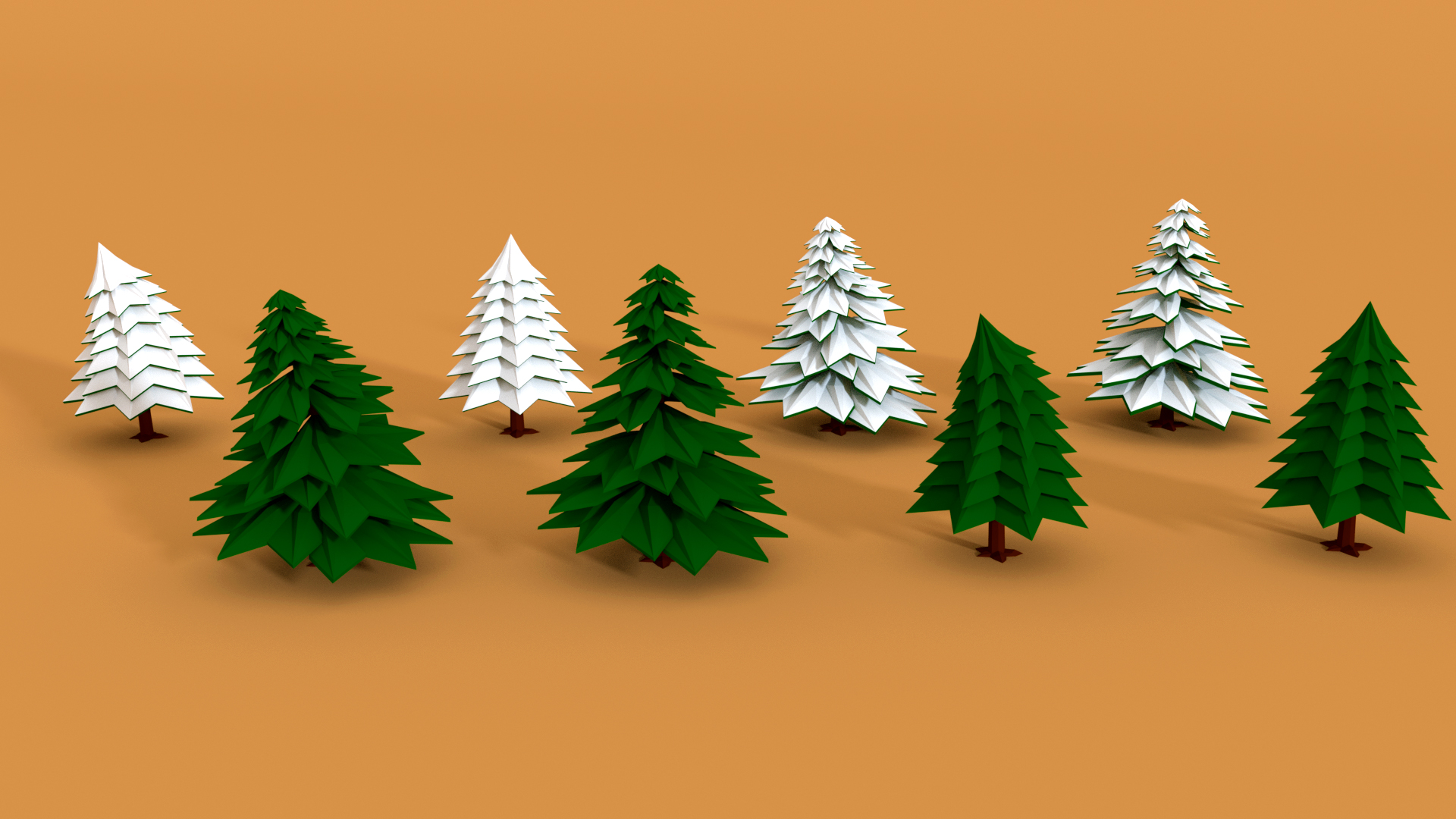 low poly pine trees pack 2 with snow by dekartech 3docean