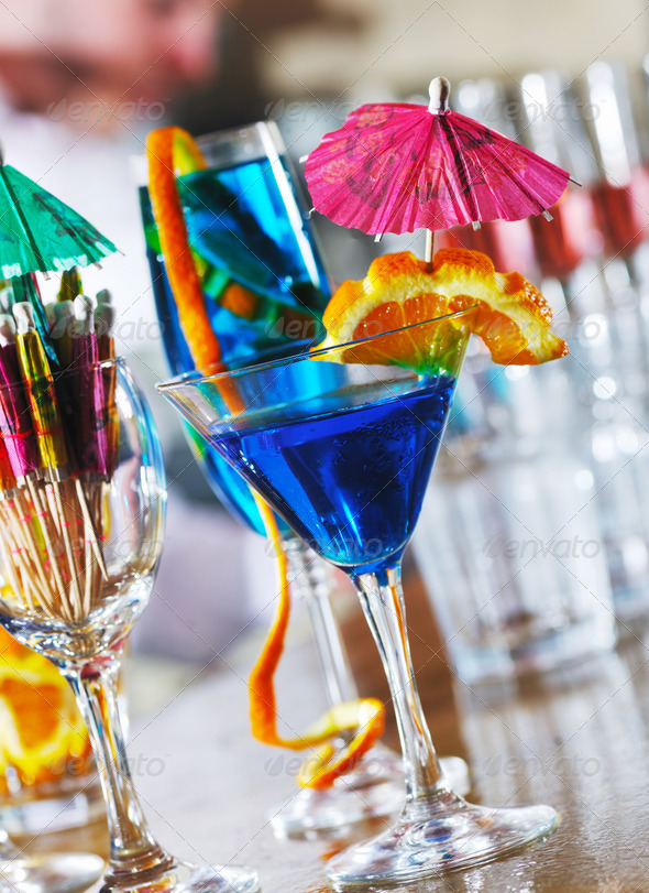 fresh cocktail drink in night bar - Stock Photo - Images
